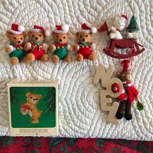Christmas teddy bear ornaments and picks vintage